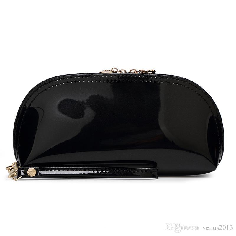 fashion zipper Black PU Bag famous brand cosmetic case luxury makeup organizer bag beauty toiletry wash bag clutch purse tote VIP gift