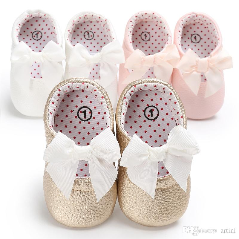 New Style Newborn Baby Girl PU Leather Princess Shoes Bowknot Rubber Soled Baby Soft PU Sole Princess-shoes G131Q