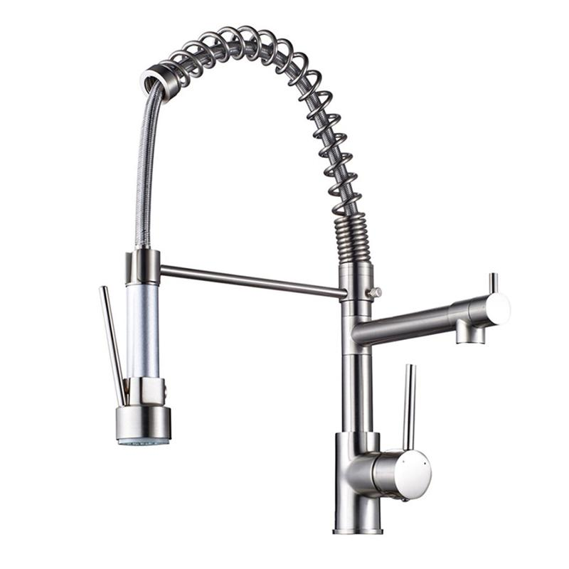Nickel Brushed Deck Mount Single Handle Sink Faucet Pull Out And ...