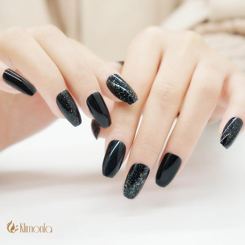 Black False Nails Ballerina Coffin French Glitter Uv Gel Design