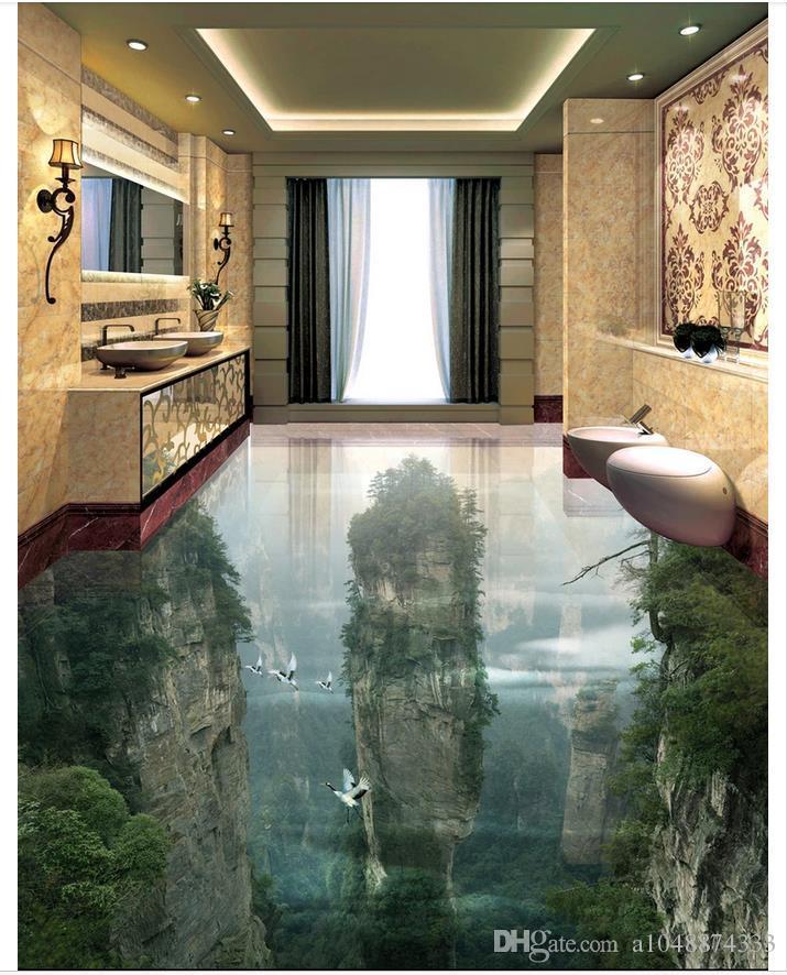 Gros-Custom Photo Floor Wallpaper Fairyland Peak Cliff Salon Salle De Bains 3D Revêtement de Sol Brique Auto-adhésif Au Sol Peinture Décor