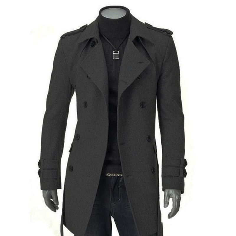 a1c33b690e Inverno Uomo Giacche Nero Grigio Faux Wool Trench Cardigan Abiti da lavoro  Slim Fit doppio petto con cintura cappotto lungo giacca a vento