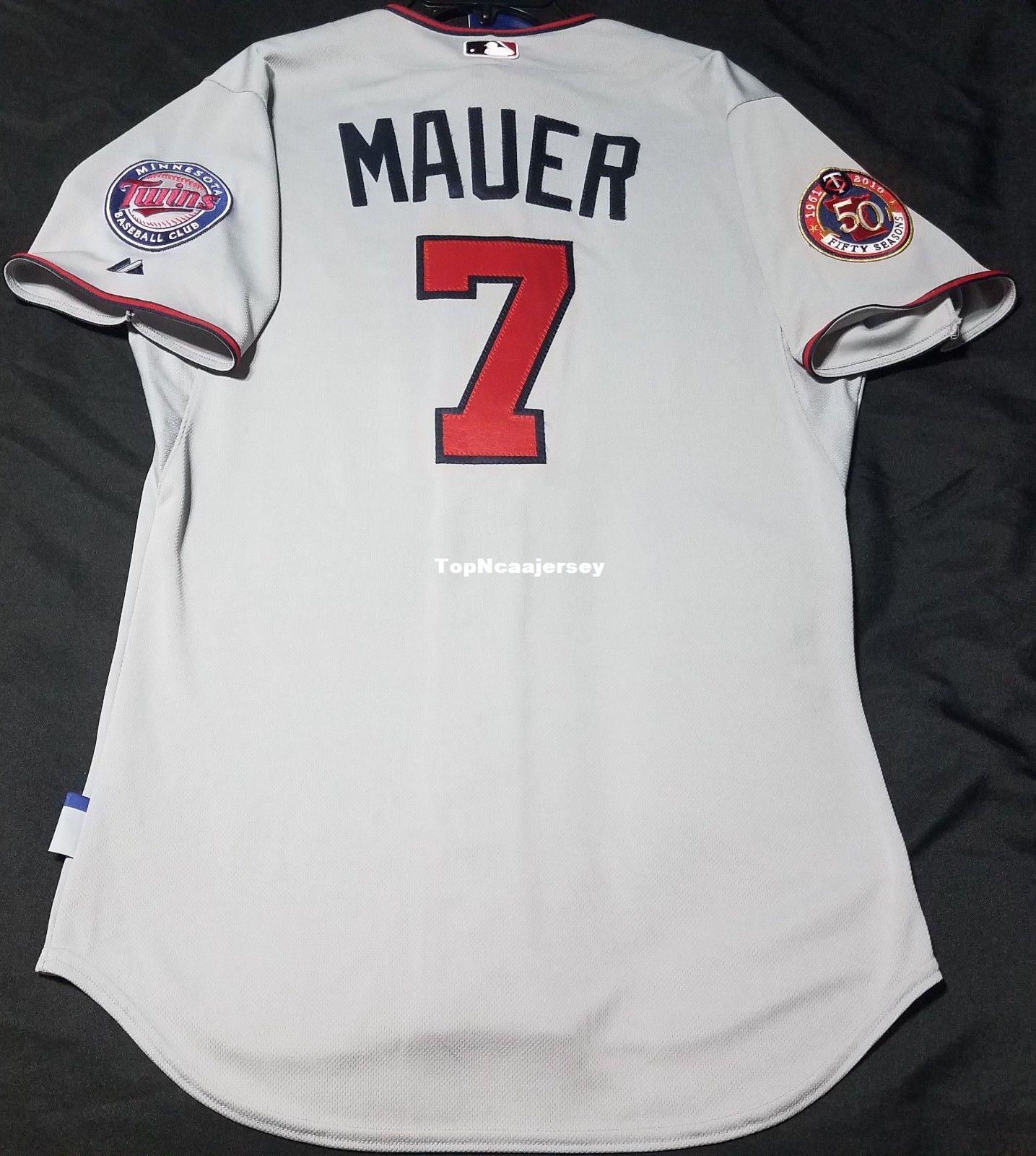 bf173228027 ... get 2018 cheap majestic minnesota gray joe mauer 7 cool base jersey  mens stitched wholesale big