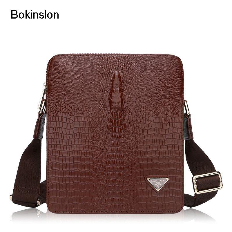 7969b5d4ecf6 Bokinslon Man Casual Bags Split Leather Practical Men Shoulder Bags ...