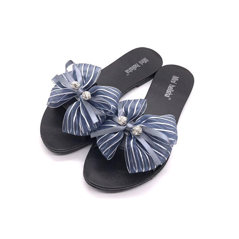 92475f078b2 Mini Helisha Nice Style Girl Flat PVC Butterfly Knot Women Plastic PCU  Slippers Wedge Shoes Flat Shoes From Amoybasketballshoes