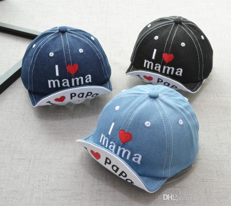 Дети Hat Ковбойская Шапка Я люблю МАМА Письмо Детские Бейсболки Детские Шляпы Солнца Джинсовая Ткань Девочка Мальчик Шляпа 18 Конструкций