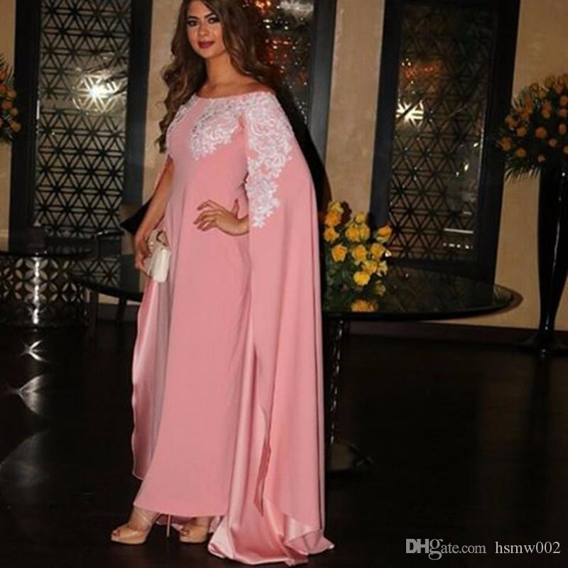 Elegant Pink Appliques Muslim Long Evening Dresses with Cape Sleeves Saudi Arabia Dresses Boat Neckline Sheath Prom Gowns Caftan Dubai