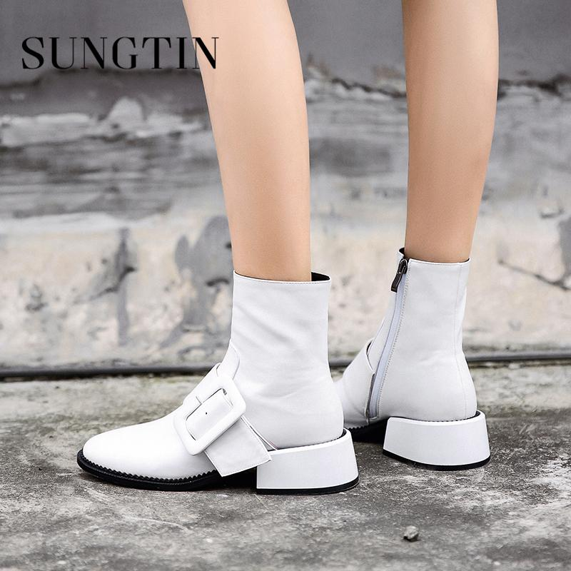 67ac47a3d540 Sungtin Solid Black White Genuine Leather Riding Boots Mid Heel Women Ankle  Boots Winter Warm Womens Short Ladies Booties Sexy Shoes Boots Shoes From  ...