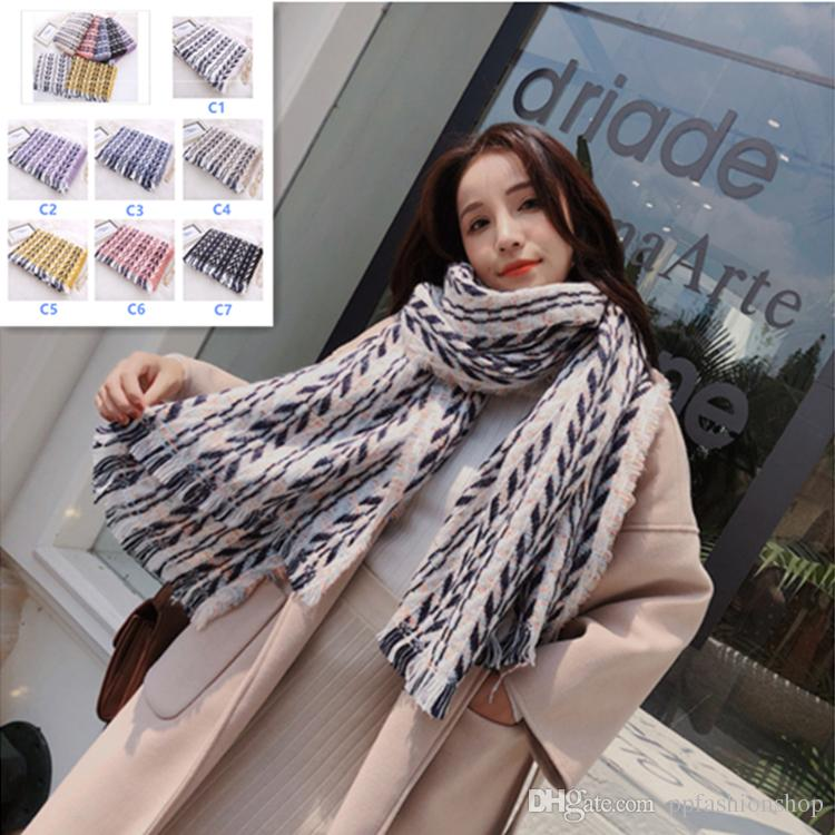 6c0b40a77 200 * 60Cm Autumn Women's Winter Wool Scarf Chess Women's Cashmere Scarves  Wide Mesh Long Wrap Wrap Hot