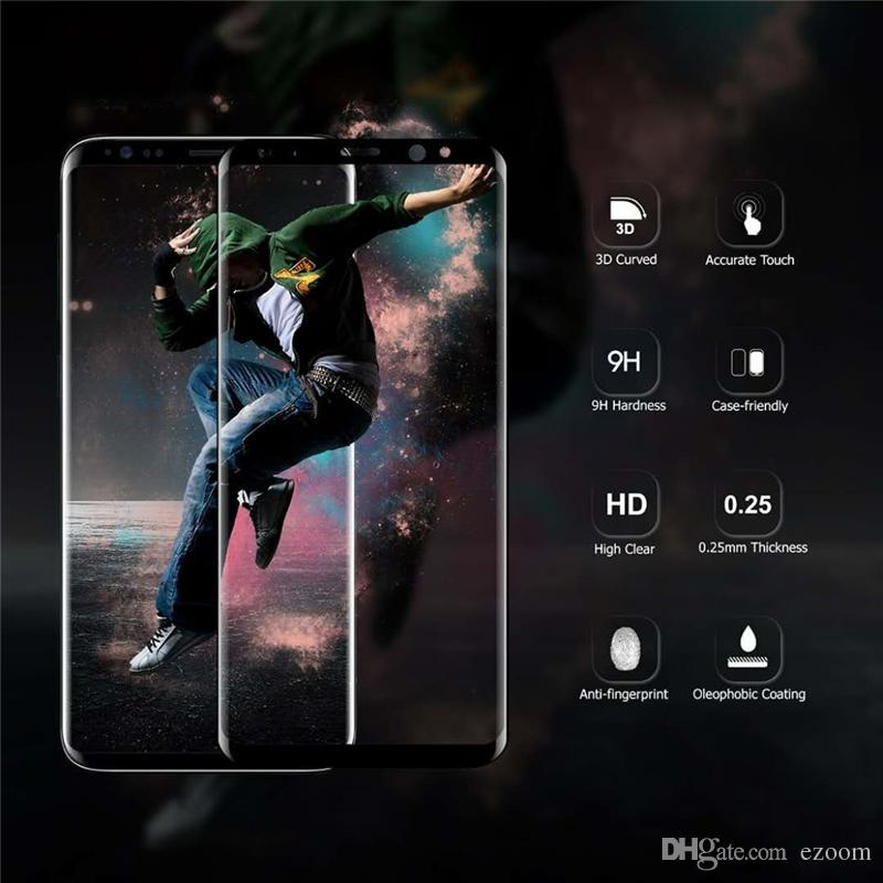Premium Full Cover 3D Curved Tempered Glass For Samsung Galaxy S9 S9Plus Screen Protector Case Friendly Film For Galaxy note 8 9 S8 S7 A9 A8