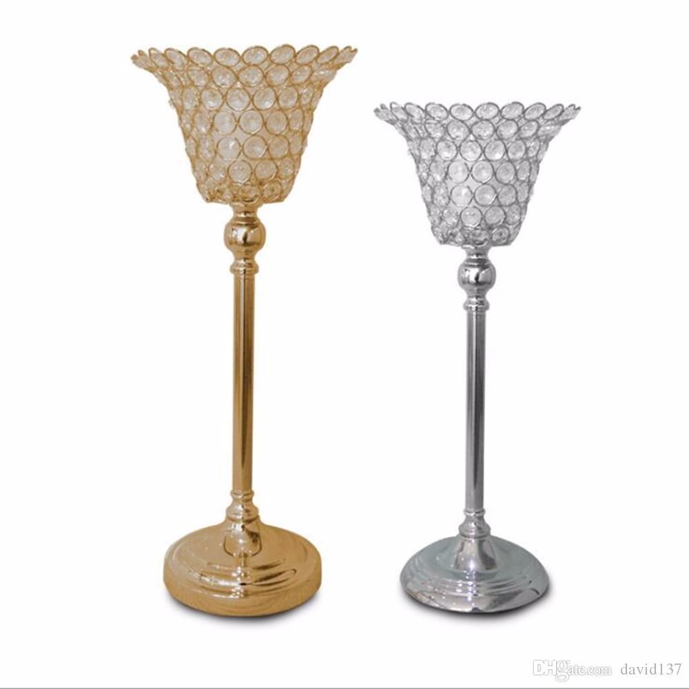 Sostenedor de vela de cristal del pilar, sostenedor de vela de cuentas de cristal