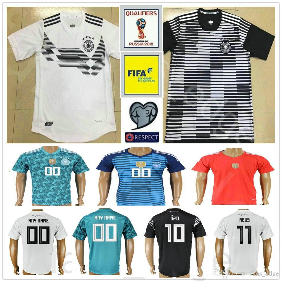 02e81ef9b 2018 Thai Quality Germany Soccer Jersey Muller Gotze Reus Kroos Draxler  Neuer Ozil Boateng Black White Blue 2018 World Cup Football Shirt From ...