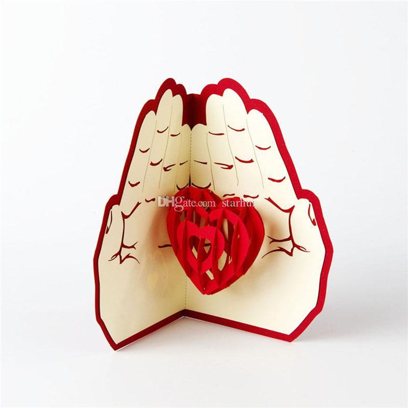 أحدث الحب في اليد 3d المنبثقة بطاقات المعايدة عيد ميلاد عيد الميلاد حفل زفاف بطاقات بريدية هدايا WX9-266