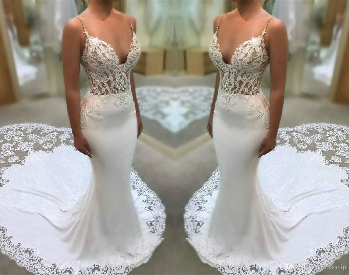4b95ae4c49132 Glamorous Spaghetti Straps Mermaid Wedding Dresses Appliques Illusion Satin  Lace Wedding Dress Sweep Train Plus Size Bridal Gowns One Shoulder Mermaid  ...