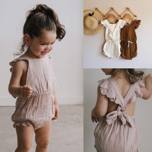 51ad54a81 2019 2018 New Cute Kdis Baby Girls Ruffle Backless Romper Jumpsuit Cotton Newborn  Summer Toddler Casual Clothes Outfit Hot From Dejavui, $32.55   DHgate.Com