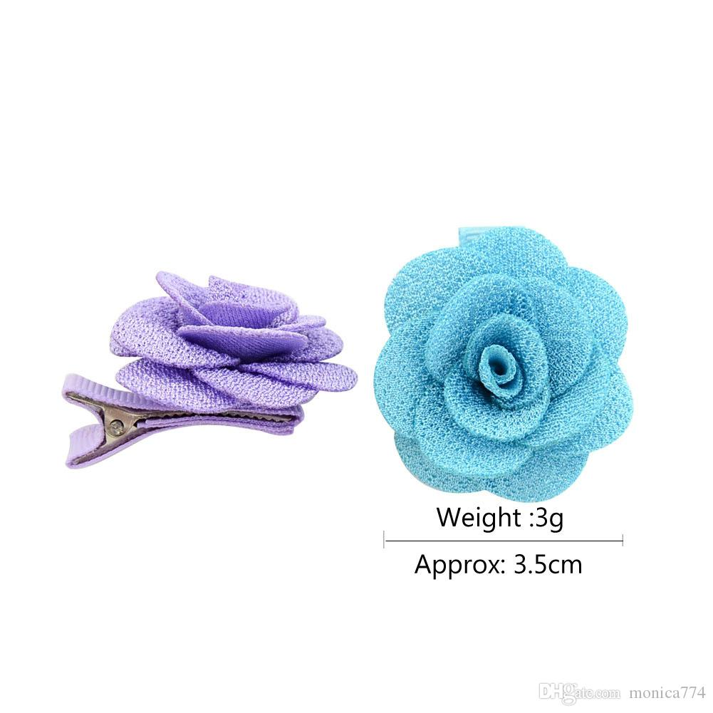 Wholesale Korean DIY Girls Camellia Rose Flora Hair Clip Girls Barrettes Worsted Fabric Bud Hair Accessories Duck Clip Kids Headwear H20
