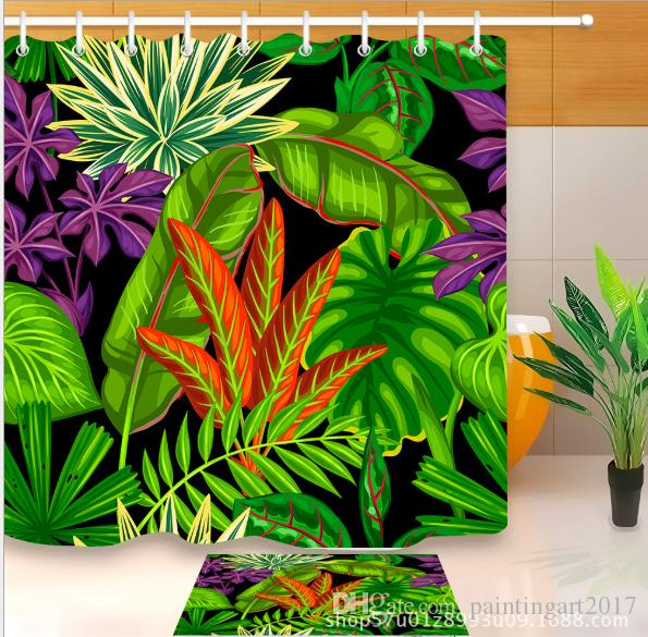 2018 3D Waterproof Polyester Fabric Bath Curtain Printed Banana Leaves Green Tropical Plants Shower Curtains Floor Mats Sets For Bathroom From