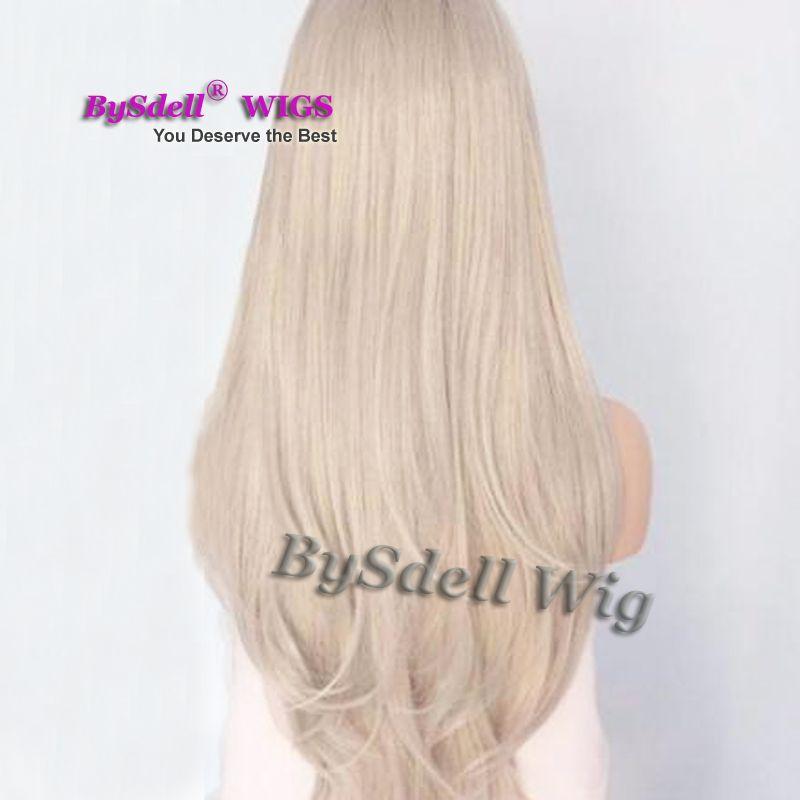 media peluca sintética hecha a mano del frente del cordón del gris del color del Blonde del platino de la ceniza sintética Peluca larga recta natural del cordón de las mujeres / del dragón pelucas delanteras