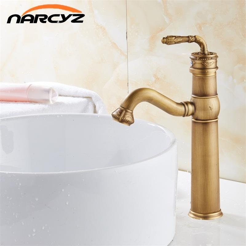 2019 Soild Brass Bronze Control Antique Ceramic Basin Faucet Crane