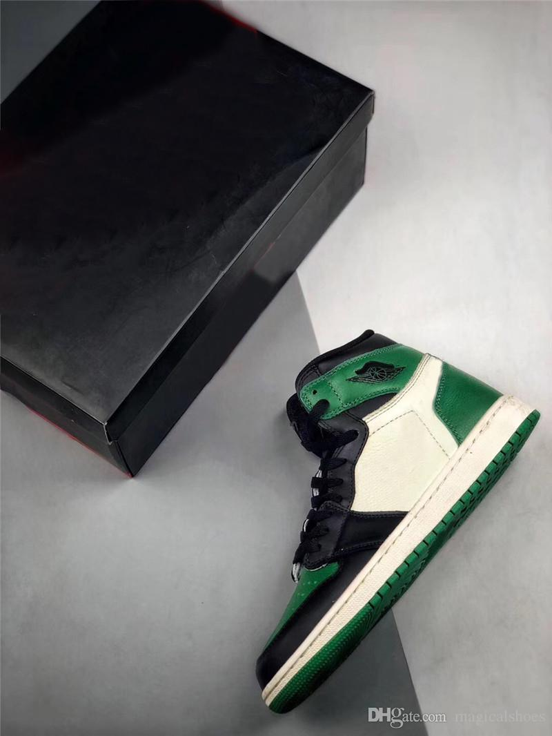 b86f6cb44183 Authentic 2018 Release 1 High OG Pine Green Court Purple Man Basketball  Shoes Best Quality Sneakers Sports With Original Box 555088 302 Shaq Shoes  Kd ...