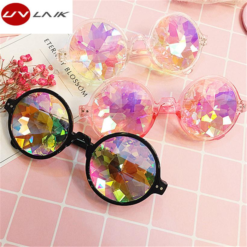 e725427116c4 UVLAIK Round Women Rave Festival Sunglasses Men Holographic Glasses  Colorful Celebrity Party Eyewear Bolle Sunglasses Electric Sunglasses From  Nectarine99
