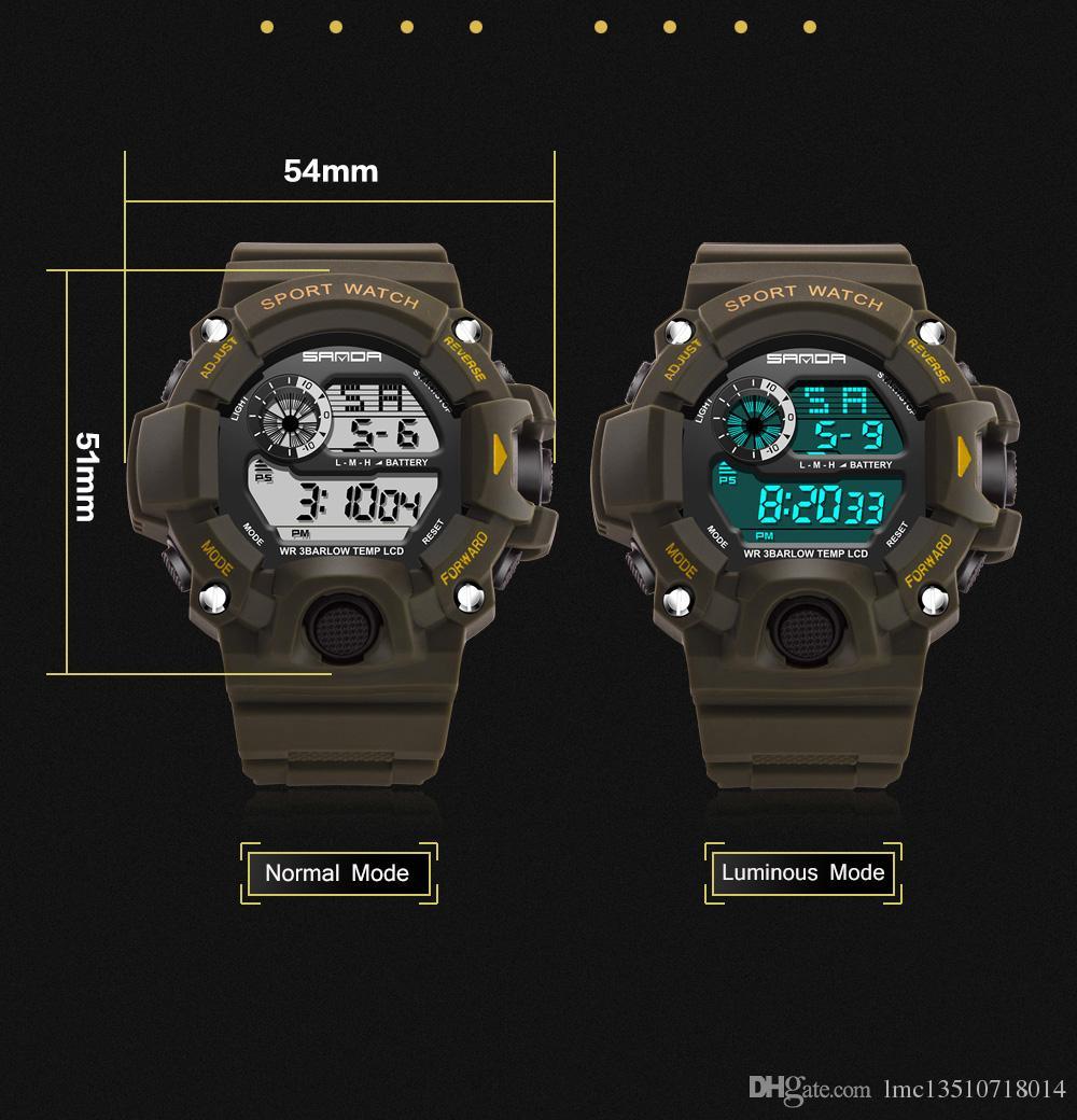 2019 orologio da uomo digitale al quarzo analogico di lusso con shock reale 2018 nuovo marchio Sanda Fashion G Style 50m orologi militari sportivi impermeabili