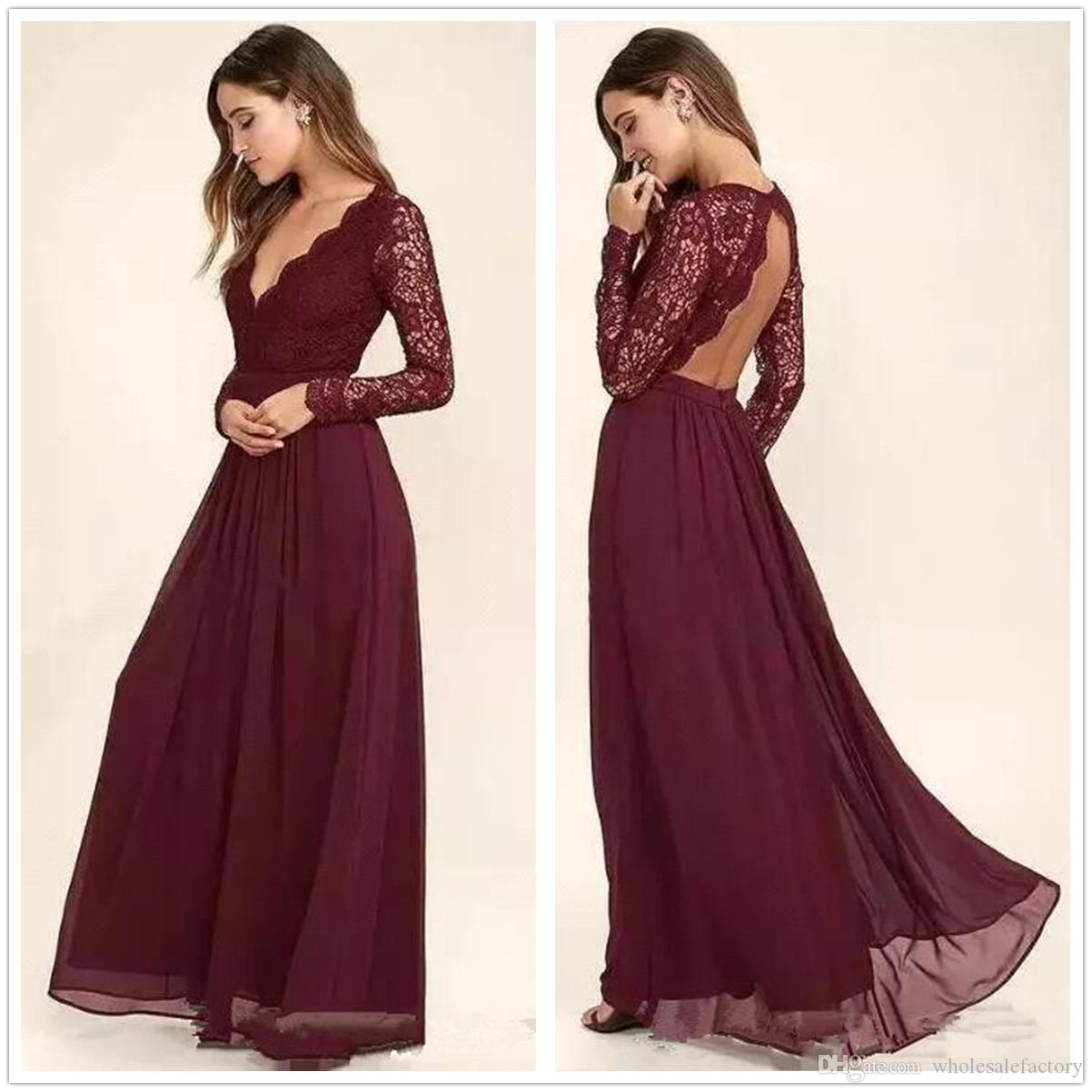 6213015ea6da 2018 Burgundy V Neck Long Sleeves Chiffon Bridesmaids Dresses Lace Top  Hollow Back Maid Of Honor Wedding Guest Prom Party Dresses Formal Dress  Dresses For ...