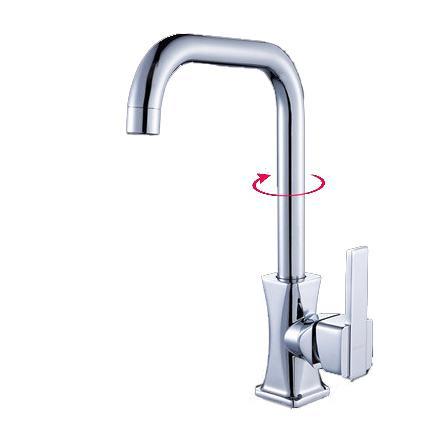 Miscelatore da cucina in ottone cromato quadrato da 30 cm di altezza  rubinetto acqua calda e fredda