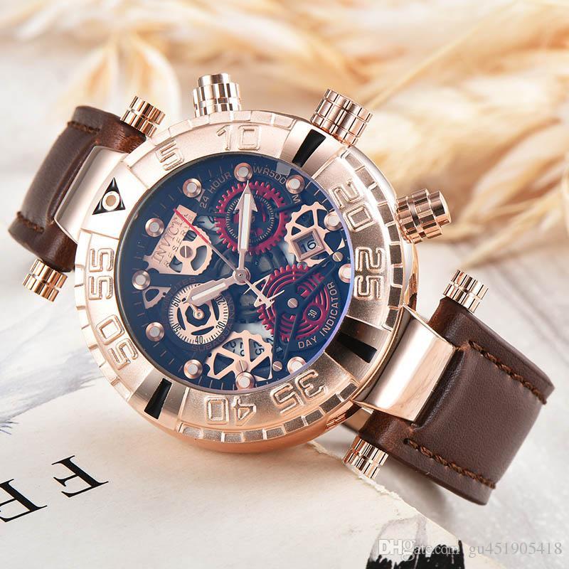 dcc65223fba Compre 2018 Novo INVICTA Marca Suíça Mens Relógios Pulseira De Couro  Qualidade AAA Invicta Relógios Relógio De Quartzo À Prova D  água Com  Calendário ...