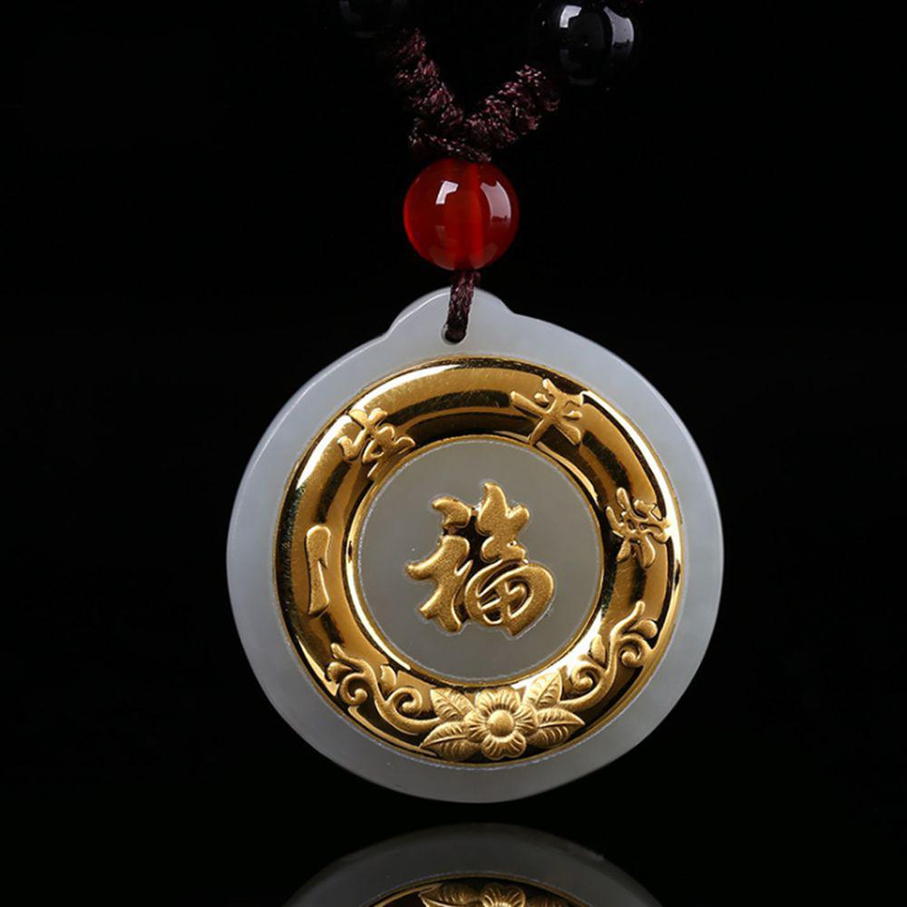 69f728f7fffc Compre Niños Colgante Collar Collar De Niños Para Chica Chino Hetian Jade + 24k  Oro Buena Suerte Joyas Colgantes A  77.24 Del Atunice
