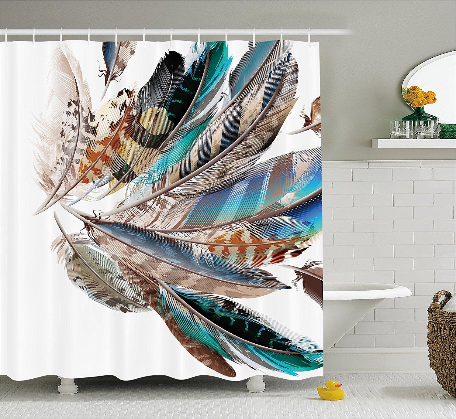 2018 Memory Home Feather Shower Curtain Vaned Types Flight Feathers Animal Print Waterproof Fabric Bathroom Decor Set With Hooks From Dtanya