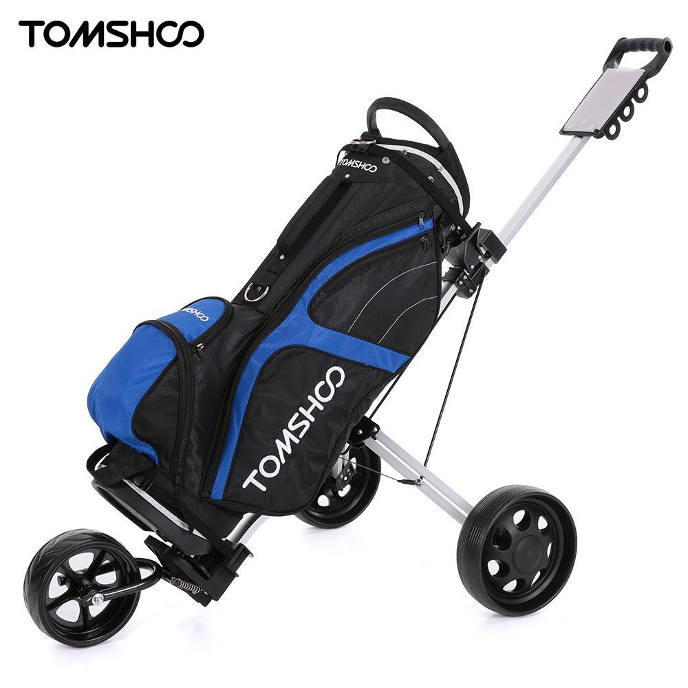 Tomshoo Golf Cart Foldable 3 Wheels Push Cart Aluminum Pull With