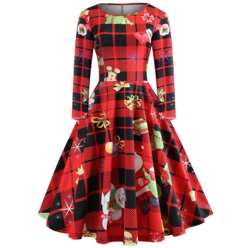 Plus Size Christmas Print Criss Cross Dress Christmas Print Party Dress Autumn Long Sleeves Vestidos costumes
