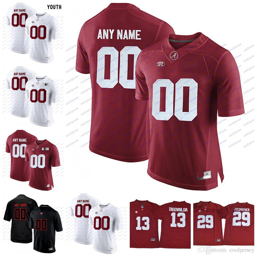 4c79f4bc8 Custom Alabama Crimson Tide College Football Mens Youth Black Red White  Personalized Any Name Number Tagovailoa Jerseys Stiched S 3XL UK 2019 From  ...