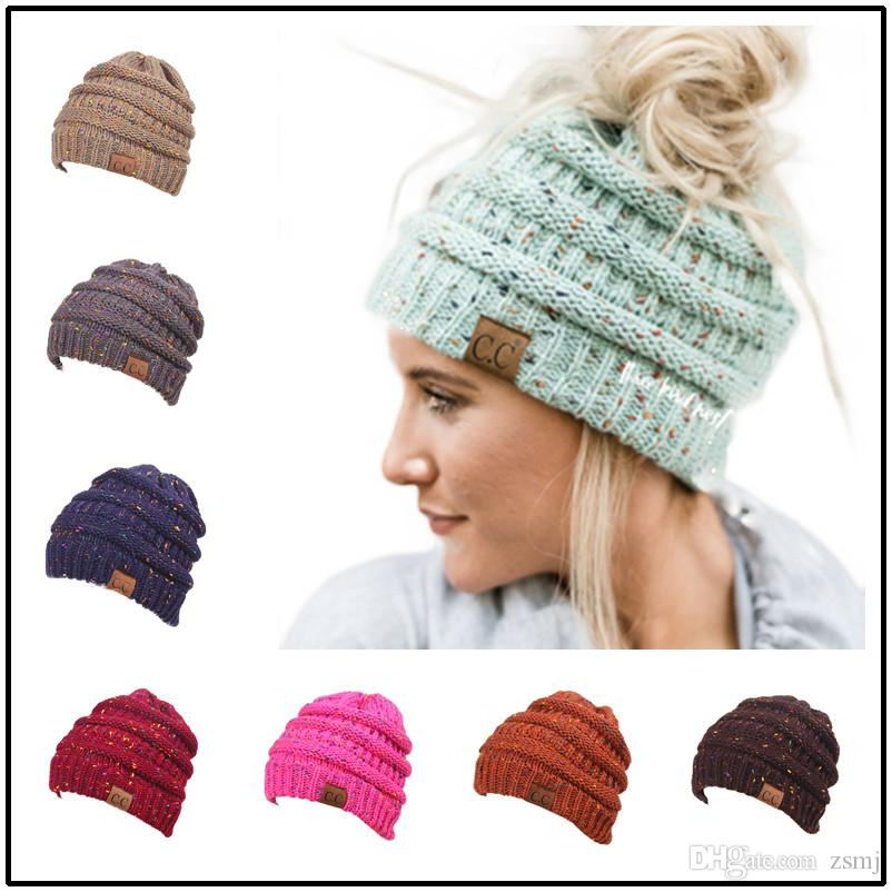 Cc Pony Hats Colorful Dots Pattern Knitted Soft Women Skull Caps ...
