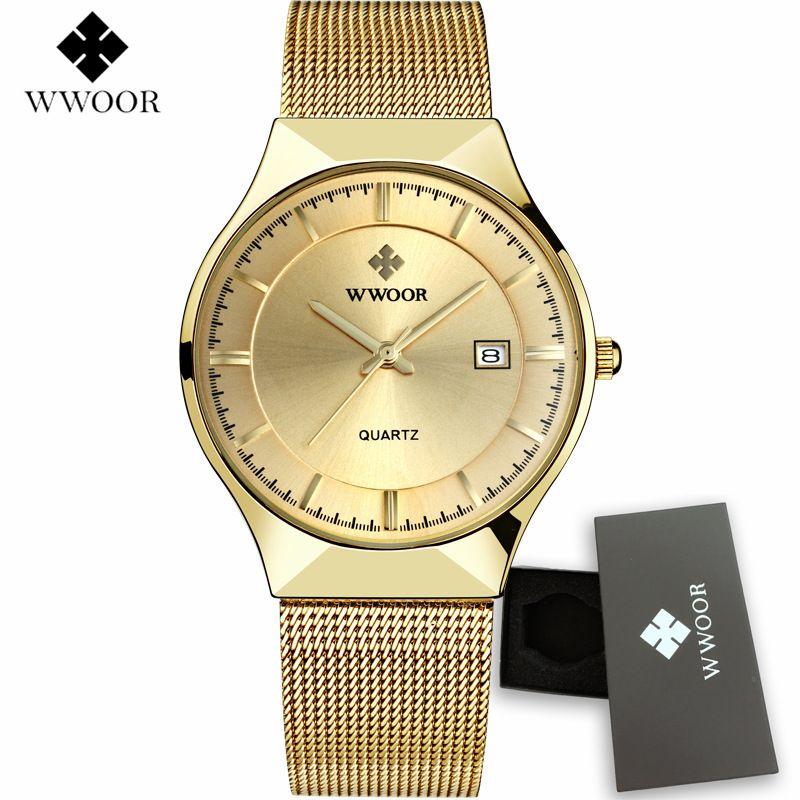9716398e314 Compre Wwoor Mens Relógios Top Marca De Luxo De Ouro Completa De Aço De  Quartzo Dos Homens Assista 2017 Novos Homens De Moda Relógios Relógio  Masculino ...