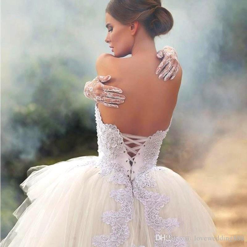 Modest High Low Short Wedding Dresses Said Mhamad Strapless Lace Beads Lace up Back Corset Bridal Gown Vestido De Novia