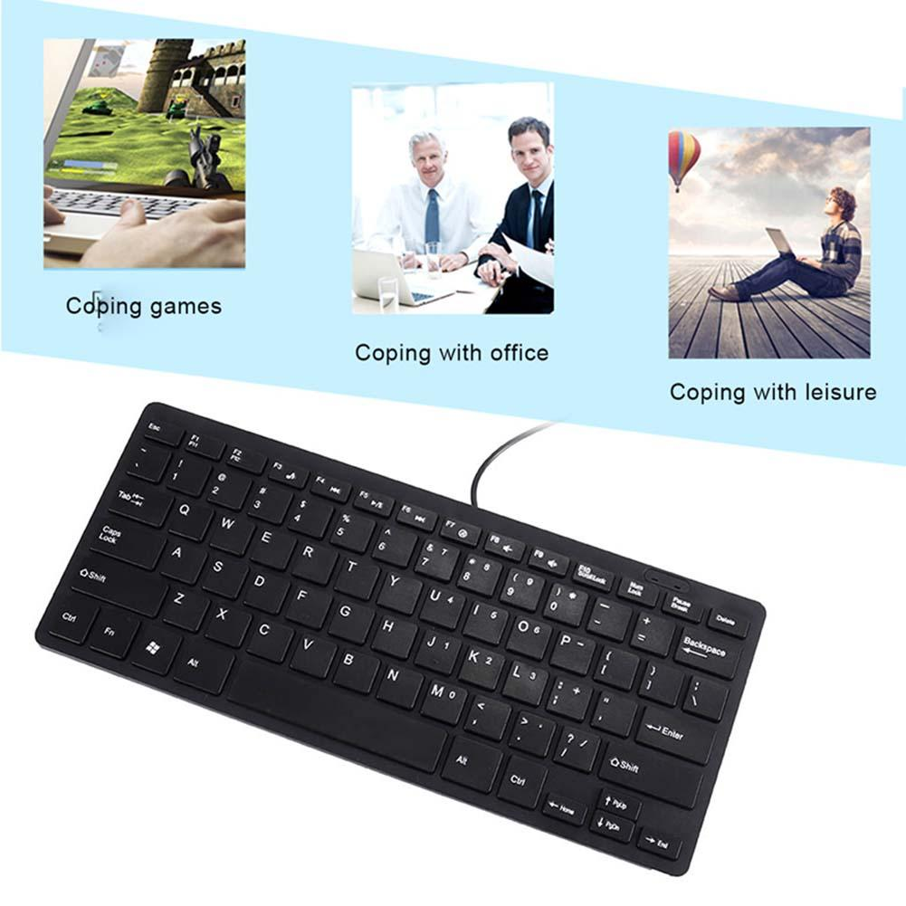 Ultra Thin Quiet Small Wired Keyboard Mini Multimedia USB Keyboards for Laptop PC Computer SL@88
