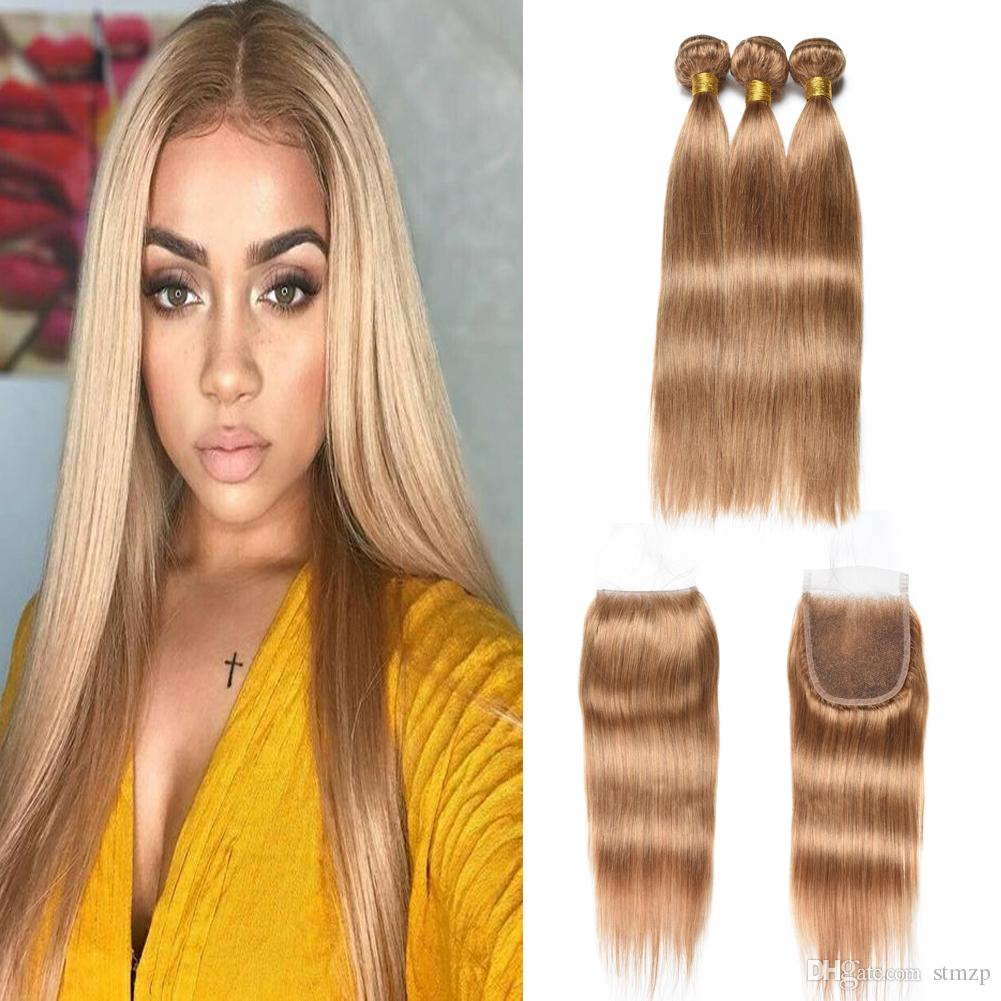 Hair Extensions & Wigs Indian Curly Bundles With Closure #27 Honey Blonde Color Human Hair Weave 3 Bundles With 4x4 Lace Closure Double Weft Hair