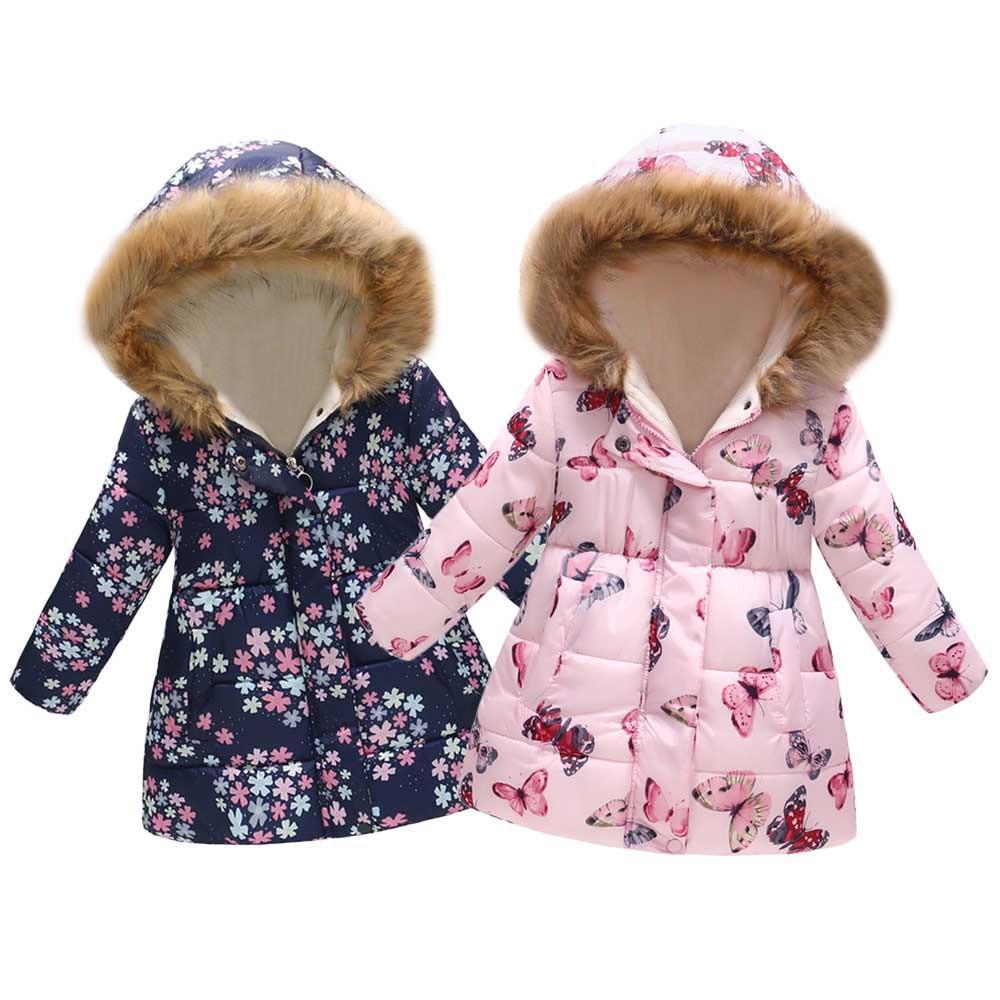 f8d21df2707 TELOTUNY Baby Coat Winter Windproof Coat Cotton Floral Butterfly Winter  Warm Warm Children Jacket Hooded Now 6 Girls Waterproof Coats Winter Coats  For ...