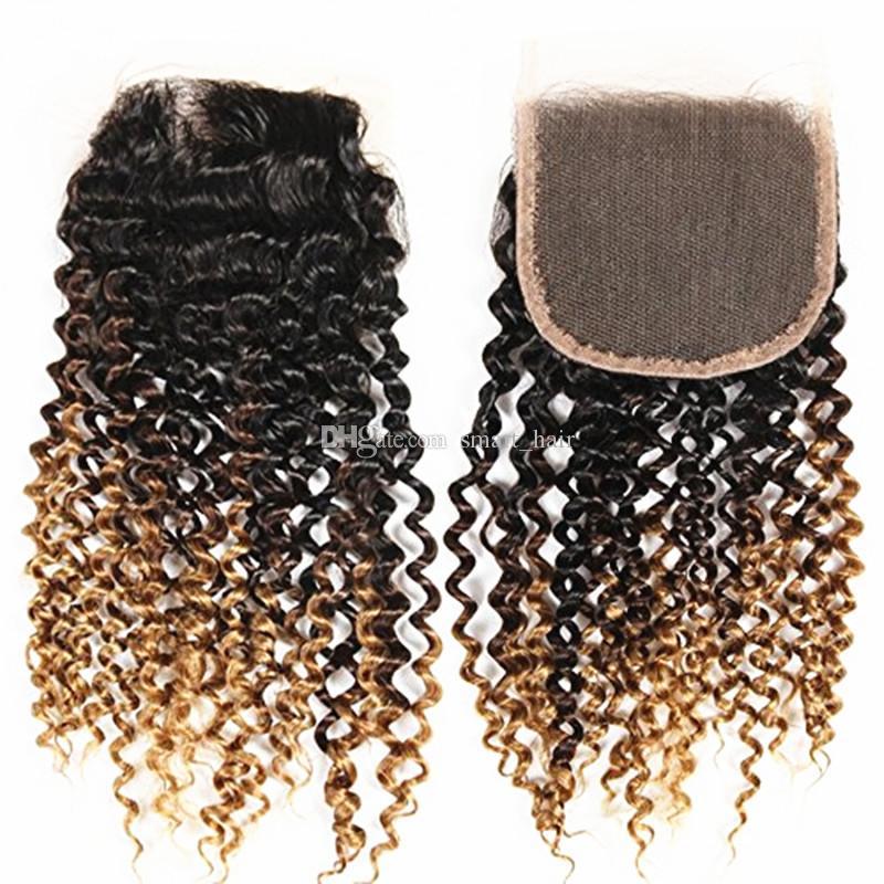 Ombre Brown Loira Kinky Curly Virgem Do Cabelo 3 Pacotes Com Fecho de Rendas Dois Tons 1B 4 27 Extensão Do Cabelo Virgem Com Fecho de Renda 4x4