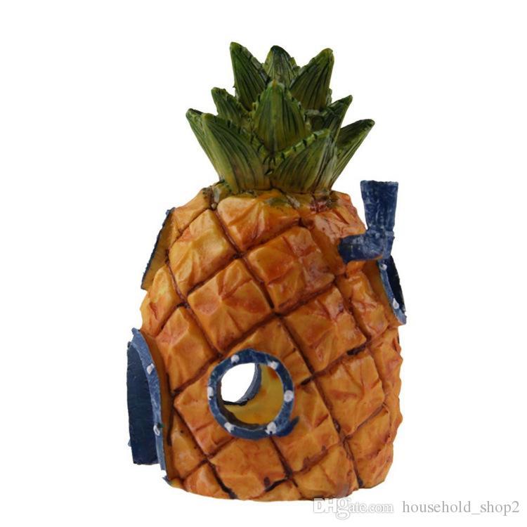 Ornement de maison Penn Plax Squidward pour l'île de Pâques, petit ornement d'aquarium pour maison en ananas de 6 pouces de Penn Plax Résine durable, sans danger pour tous