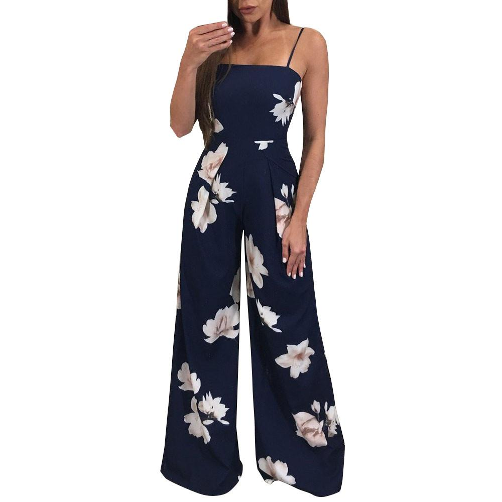 ecca69282fe NEW Ladies Summer Style Long Jumpsuits Women Sexy Backless Floral Printed  Playsuits Girls Beach Bodycon Rompers Trousers  Ni