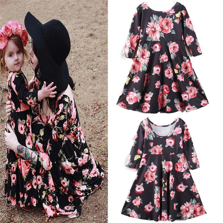 b520ab0f2 Mother And Daughter Clothes Women Long Sleeve Flower Dress Parent ...