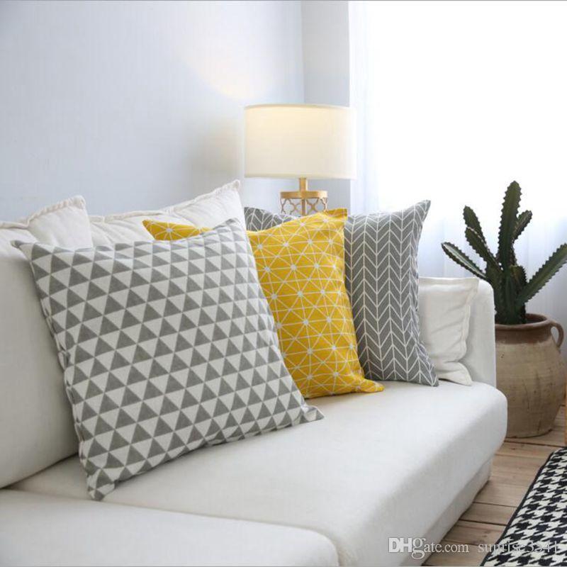 Yellow Cushion Cover Geometric Sofa Chaise Throw Pillow Case 60cm