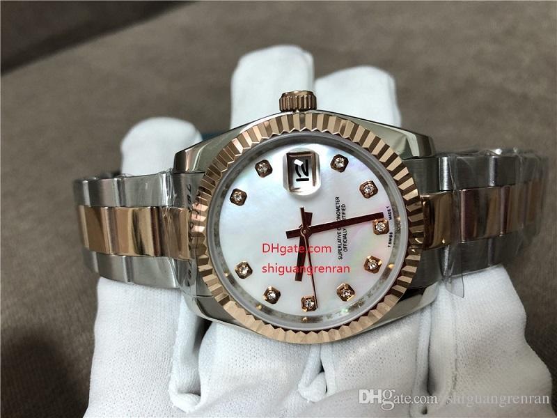 Las mejores marcas de relojes Mujer 36 mm 116231 Datejust 18 k Oro rosa Acero Diamante blanco Dial Blanco Madre de Pearl Mecánico automático Relojes