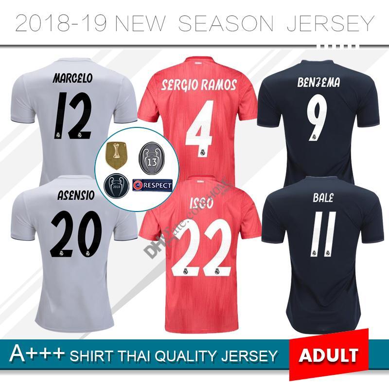 d2be2c4f83193 2019 Real Madrid em casa camisa de futebol 18 19 KROOS ISCO ASENSIO BALE Real  Madrid afastado terceiro 3º camisa de futebol vermelho uniforme de futebol