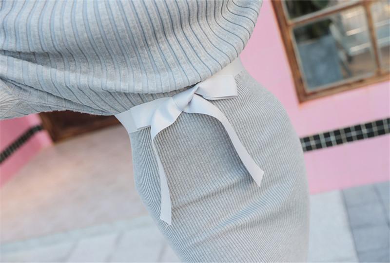 Automne Tricoté Coton Gaine Solide Col Ras Du Cou Femmes Pull Robes Hanche Emballé Sexy Hiver Doux Pull Robe Robe Vestidos Femme