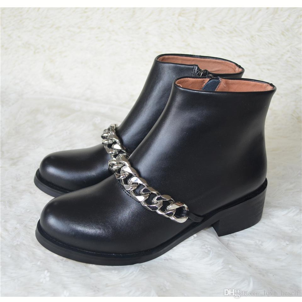 Newest Chain Martin Boots Woman Round Toe Silver Gold Metal Chain Black Real Leather Short Boots Back Zipper Ankle Boots