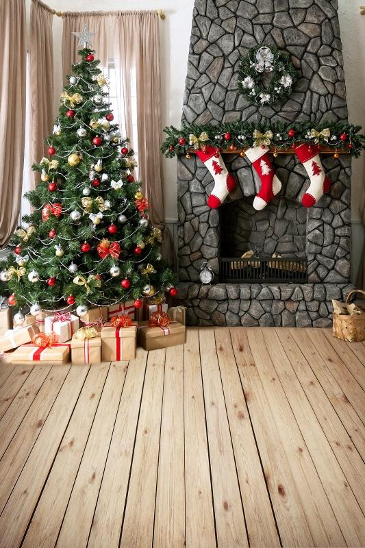 Laeacco Christmas Tree Interior Floor Baby Children Photography Backgrounds Custom Photographic Backdrops For Home Photo Studio